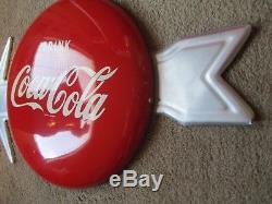 12 Coca Cola Button Arrow Sign Original Bracket Near Mint Coke Sign