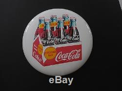 16 Inch Coca Cola Button Sign Porcelain Regular Size