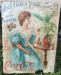 1898 ORIGINAL Coca Cola Ideal Brain Tonic Ad Poster Calendar Sign for Repair #1