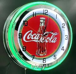 18 Coca-Cola Bottle Sign Double Green Neon Clock Coke