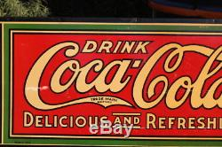 1920'S VERY RARE LARGE COCA COLA CARDBOARD With DOUBLE BOTTLES 1915 METAL FRAME