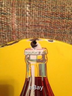 1930'S Coca Cola Yellow Bottle Button Gas Station Porcelain Sign RARE