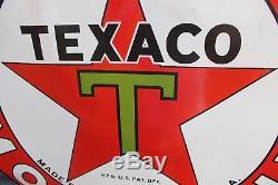 1930's 42 TEXACO MOTOR OIL PORCELAIN METAL SIGN GAS OIL COKE TEXAS FORD