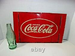 1930's Antique Vintage Coca Cola Soda Coke Tin Embossed Sign Advertising