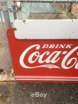 1930's Coca Cola Double Sided Porcelain Sign withHanging Bracket 4x 6 SUPER RARE
