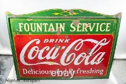 1930's Porcelain Coca-Cola Fountain-Service Sign