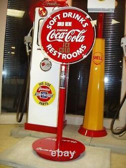 1930s 40s 50s Coca Cola Gas Station Curb Sign Lollipop