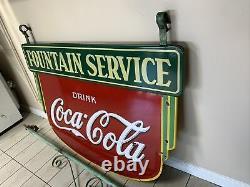 1930s COCA COLA FOUNTAIN SERVICE PORCELAIN SIGN