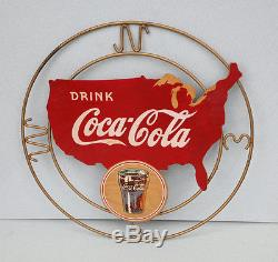1930s COCA COLA Kay Display USA WITH GLASS Diecut Wood Sign