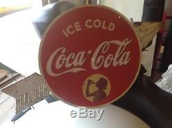 1930s round coca cola Kay Displays masonite arrow sign