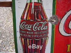 1931 Embossed Tin Coca Cola Christmas Bottle Sign
