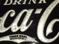 1932 Coca-Cola Coke Reverse Glass Brunhoff Fantail Hanging Sign