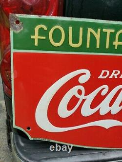 1933 Coca Cola Fountain Service Sign. Porcelain. 27inx14in