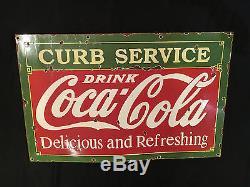 1933's Coca Cola Curb Service Vintage Porcelain Porcelain Enamel sign