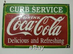 1933's Original Vintage Porcelain Coca Cola Curb Service Enamel Sign