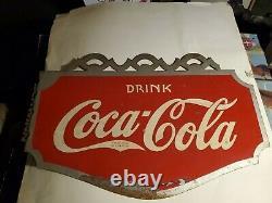 1934 Coca Cola Coke Antique Flange Sign Vintage Soda Pop Advertising Double Side