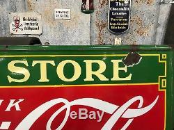 1935 Coca Cola Drug Store Sign HUGE LArge