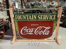 1935 Original Coke Fountain Sign With Original Hanging Pole