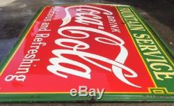 1935 Original Porcelain Coca Cola Fountain Service Sign 96 1/2 x 55 Rare Coke