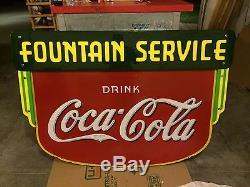 1936 Coca Cola Fountain Service DSP Sign