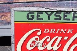 1936 Original Coca-Cola Geyser Inn Tin Mounted Advertising Coke Sign