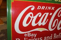 1936 Vintage Coca Cola Fountain Service Coke Soda Porcelain Advertising Sign