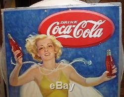 1937 Coca Cola Coke CARDBOARD Running Girl sign