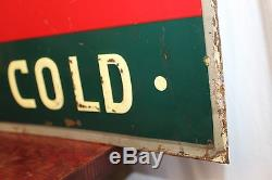 1937 Original Drink Coca Cola Ice Cold With Xmas Bottle Advertising Tin Sign
