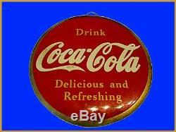 1938 Coca Cola Celluloid Rare Button Sign Delicious and Refreshing Original