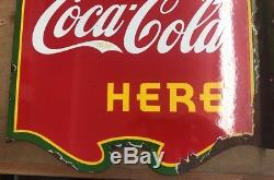 1939 Coca Cola Two Sided Flange Sign Rare Variant With Green Trim