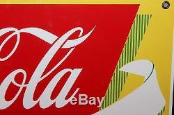 1940-50s Drink Coca Cola Fountain Service Coke Porcelain Advertising Sign NOS
