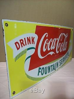 1940'sCOCA-COLAFOUNTAIN SERVICEPORCELAIN ADVERTISING SIGN28x12EXCELLENT