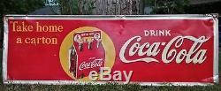 1940's Coca Cola Sign 54x18 Original Coke Soda Vintage Bottle Metal Gas Station