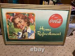 1940, s Coca Cola cardboard original sign with Kay Display Hinged Wood Frame