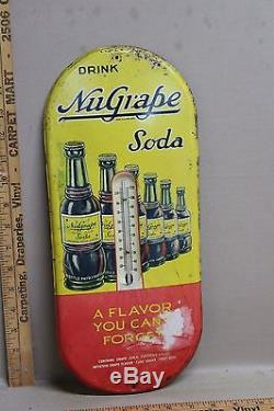 1940's NUGRAPE GRAPE SODA POP METAL THERMOMETER SIGN WORKS COKE TEXAS COLA