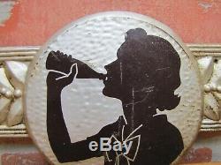 1940s COCA-COLA Embossed Tin Adertising Soda Sign Girl Drinking Bottle COKE