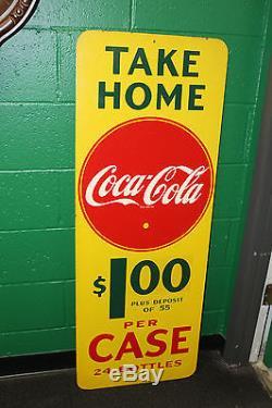 1940s Coca Cola Coke Masonite Vertical Advertising Sign take home a case
