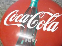 1940s Coca Cola Metal Button or Sign 24 inch with Bottle