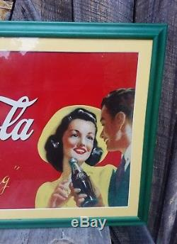 1940s Coca Cola Sign. Professionally Framed. Painted Metal. 32inx23in