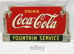 1940s Drink Coca Cola Fountain Service Die-Cut Coke Advertising Sign Masonite