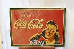 1940s Original Drink Coca Cola Advertising Coke Masonite Board Sign in Frame