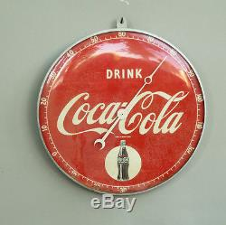 1940s Rare 12 Round Pam COCA COLA Thermometer with Bottle sign