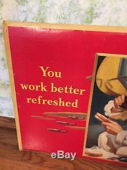 1943 Coca Cola Cardboard Advertising Sign Rare