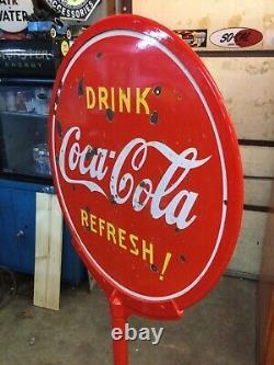 1946 Coca Cola Lollipop Curb Porcelain Sign Coke