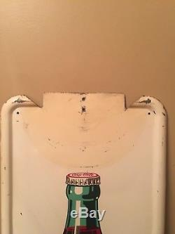 1947 A-M 2-47 Coca Cola Soda Button Pilaster Sign Big Bottle Rare 16X40 1/2