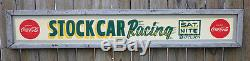 1947 Coca Cola STOCK CAR RACING Wood Framed Sign with Buttons hot rod