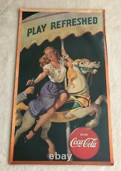 1948 Vintage Coke Coca-Cola Poster Cardboard Sign Large VG+/EX Condition