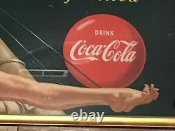 1949 Coca Cola Be Refreshed Pinup Girl Litho Cardboard Sign Wood Framed 60x30
