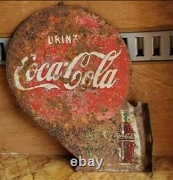 1949 Coca Cola Coke Antique Flange Sign Vintage Soda Pop Advertising Dated Real