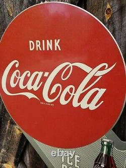 1949 Coca Cola Flange Sign. 22inx18in. Original. Painted metal